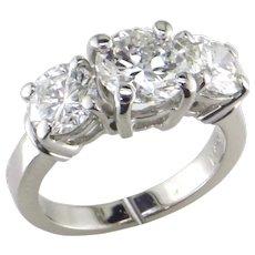 3 ct 3 Stone Diamond Platinum Ring