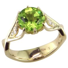 Peridot & Diamond 14K Ring