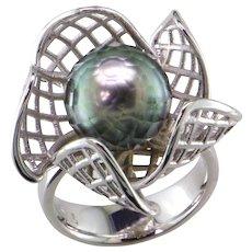 Tahiti Faceted Black Pearl 14K White Gold Ring