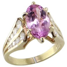 Natural Color Juicy Pink Topaz & Diamond Ring