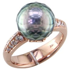 Tahiti Faceted Black Pearl 14K Rose Gold Ring