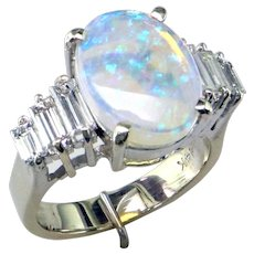 Elegant Opal and Baguette Diamond 14K Ring