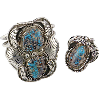 White Eagle Turquoise Sterling Silver Bracelet and Ring Set