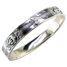Art Nouveau Sterling Silver Bangle