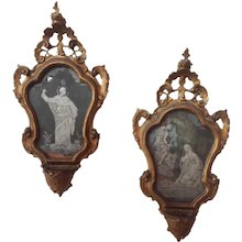 Pair of Eglomise Mirrors with Holy Water Fonts 18th c.