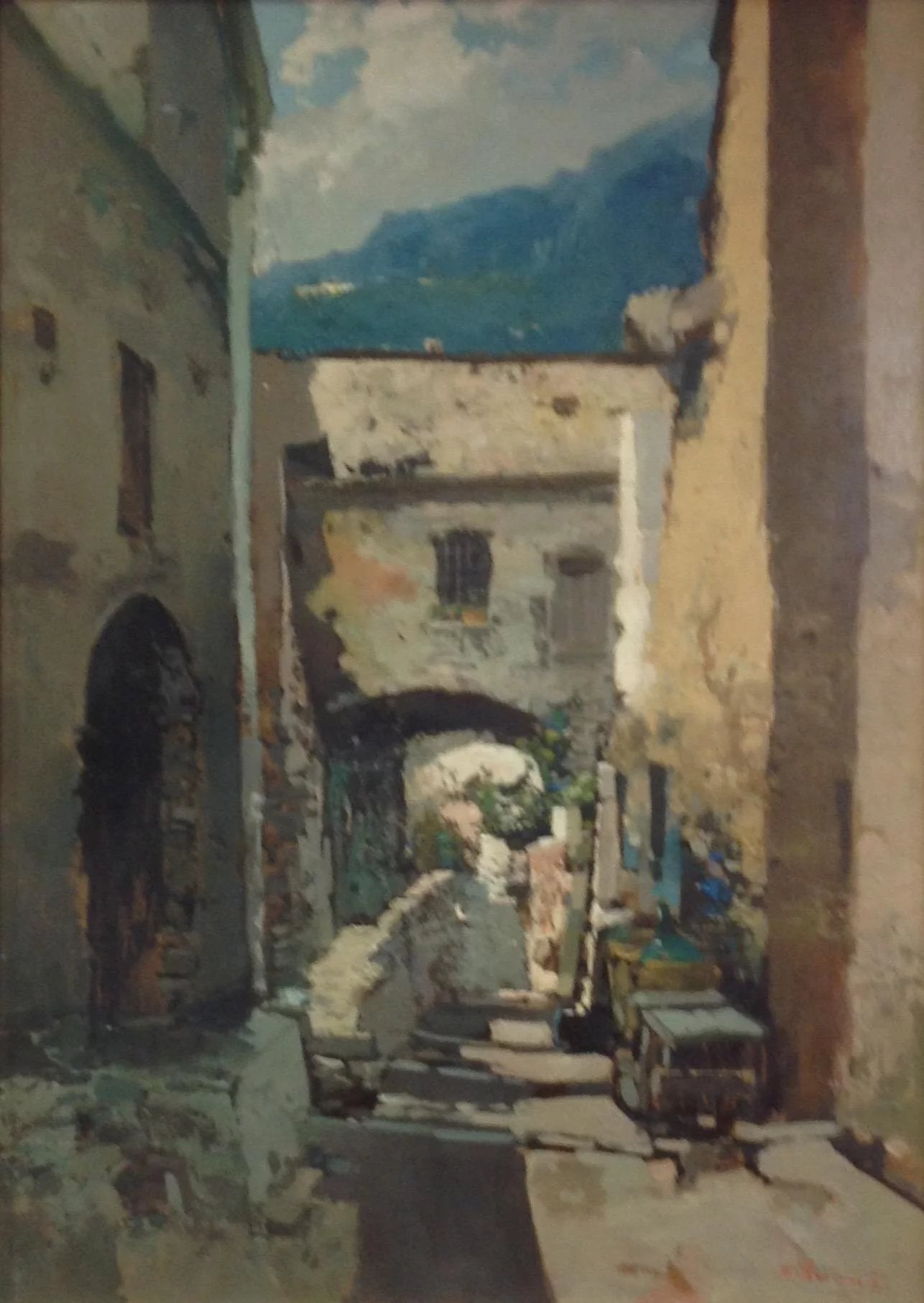 Italian Street Scene Oil Painting By Ezelino Briante