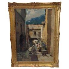Italian Street Scene Oil Painting by Ezelino Briante