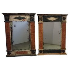 Pair of Marble Specimen Mirrors