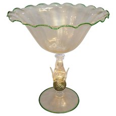 Venetian Glass Compote with Dolphin 1920's