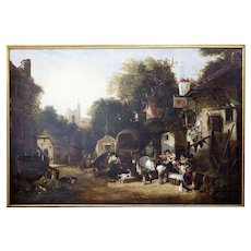 Large English Market Scene Oil  Early 19th Century