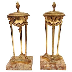 Empire Period Gilt Bronze Sienna Marble Atheniennes or Candlesticks