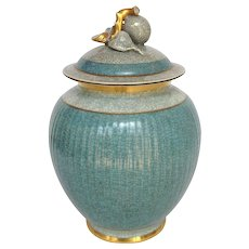 Craqueline Royal Copenhagen Covered Jar by Olsen Aqua