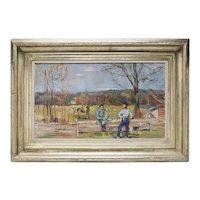 Virginia Fox Hunt Scene Oil by Artist L. Bouche 1940's