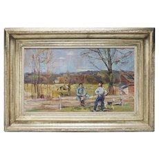 Virginia Fox Hunt Scene Oil by Artist L. Bouche 1940's