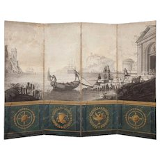Neoclassical Four Panel Screen France Early 19th Century