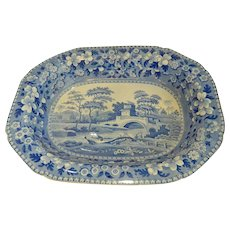 "Huge Blue Tower Spode Pearlware 21"" Hash Dish Early 1800s"