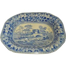 """Huge Blue Tower Spode Pearlware 21"""" Hash Dish Early 1800s"""