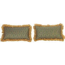 Pair Blue and Gold Fortuny Pillows