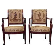 Pair of Greek Revival Armchairs, Early 19th Century