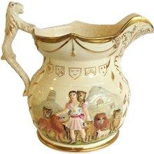 Lion Tamer Large Staffordshire Jug 1840's