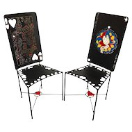 Painted Iron Playing Card Chairs Joker and Queen of Hearts