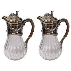 Pair of French Claret Jugs 1st Standard Silver A. Risler and Carre Paris