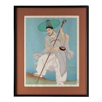 Paul Jacoulet Woodblock The Wandering Priest- Korea