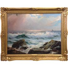 Canadian Seascape Oil Painting 'After The Squall' by William Cutts
