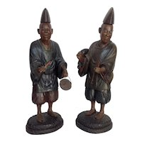 Pair of Shinto Priests Japan 19th c