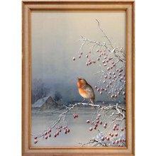 Henry Bright Bird on Berry Branch British Watercolor