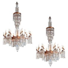 Pair Waterfall Chandeliers 19th c.