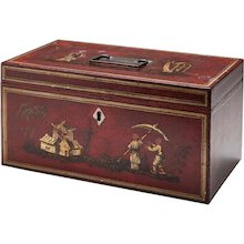 Red Japanned Metal Tea Chest Mid 19thc