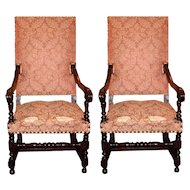 Pair Louis XIII Walnut Arm Chairs