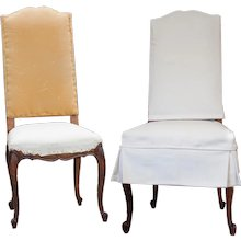 Eight Louis XV Oak Camel Back Chairs