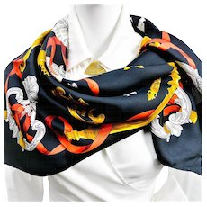 Hermes Silk Scarf Ferronnerie Black and Red Colorway