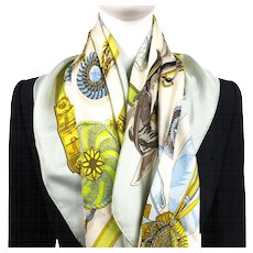 Hermes Silk Scarf Frontaux et Cocardes Light Blue Early Issue
