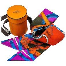 Hermes Silk Twilly Scarf Grand Manege with Round Twilly Box
