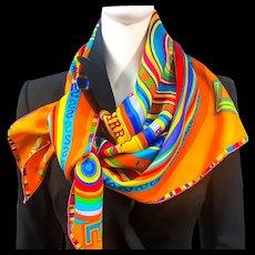 Hermes Silk Scarf Tohu Bohu Orange