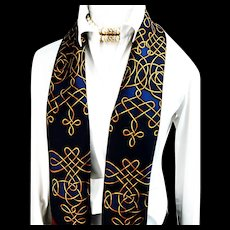 Hermes Silk Scarf Vinci Navy Gold and Maroon Rare