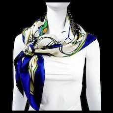Hermes Silk Scarf Les Voitures a Transformation Blue