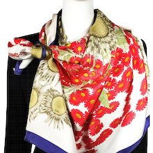 Hermes Silk Scarf Fleurs et Carlines Vintage RARE