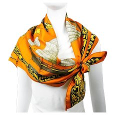 Hermes Silk Scarf Jonques et Sampans Orange CW