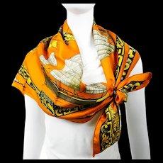 Hermes Silk Scarf Jonques et Sampans Orange CW