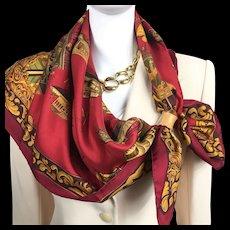 Hermes Silk Scarf Jonques et Sampans Wine Red