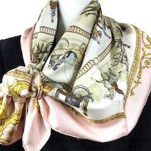 Hermes Silk Scarf La Promenade de Longchamps Pink Colorway