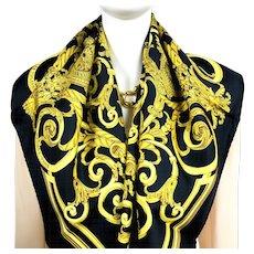 Hermes Silk Scarf Les Tuileries Black Colorway NIB