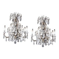 1910 Italian-style Beads Rock Crystal Chandelier