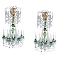 Magnificent 21st century pair of 2m green crystal & gold chandeliers