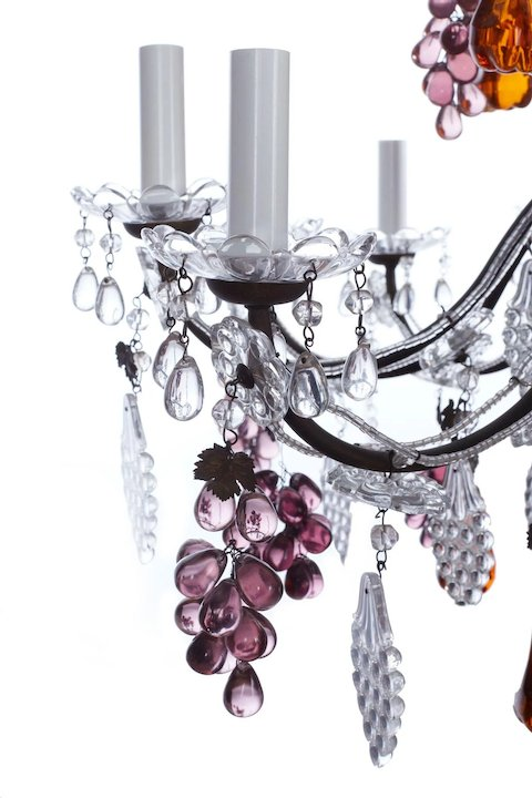 French crystal chandelier with purple grapes amber pear drops and french crystal chandelier with purple grapes amber pear drops and clear vine leaves mozeypictures Gallery