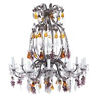French Crystal chandelier with purple grapes, amber pear drops and clear vine leaves